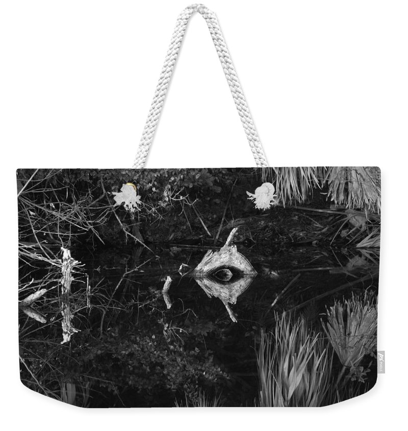 Cyclops Weekender Tote Bag featuring the photograph Black And White Cyclops by Rob Hans