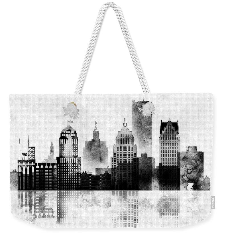 Black And White Detroit Weekender Tote Bag featuring the mixed media Black And White Detroit by Dim Dom