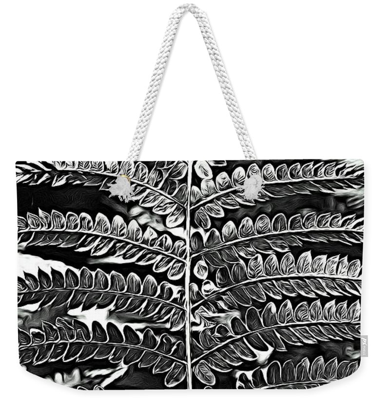 Fern Weekender Tote Bag featuring the photograph Black And White Fern by Modern Art