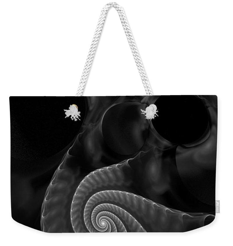Fractal Weekender Tote Bag featuring the digital art Black And White Fractal 080810 by David Lane