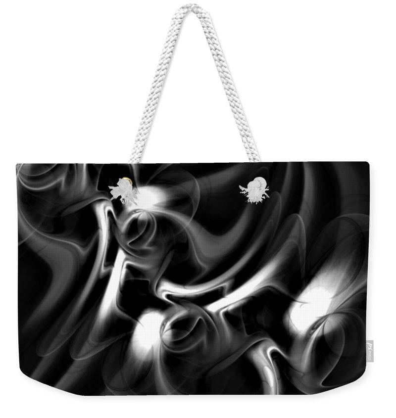 Fractal Weekender Tote Bag featuring the digital art Black And White Fractal 080810a by David Lane
