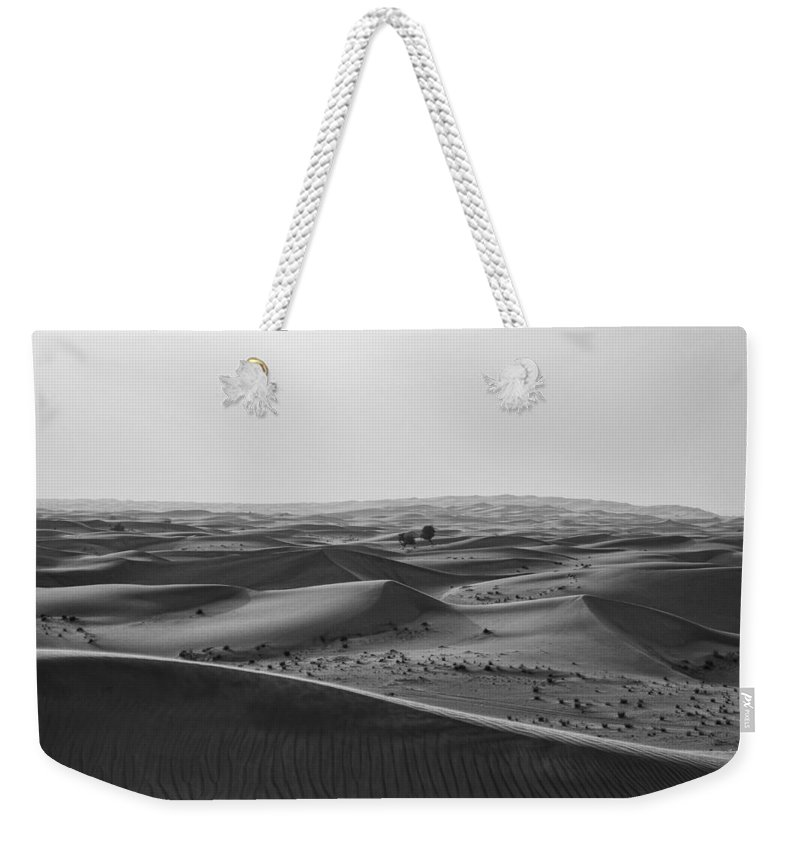 Beautiful Weekender Tote Bag featuring the photograph Black And White Hot Desert by Artpics