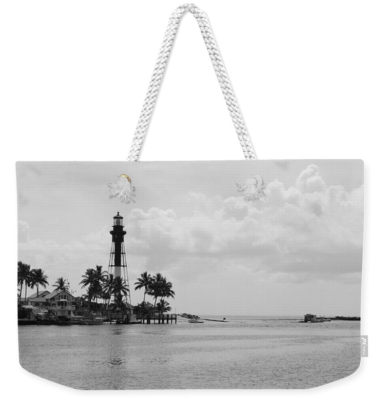 Landscape Weekender Tote Bag featuring the photograph Black And White Lighthouse by Rob Hans