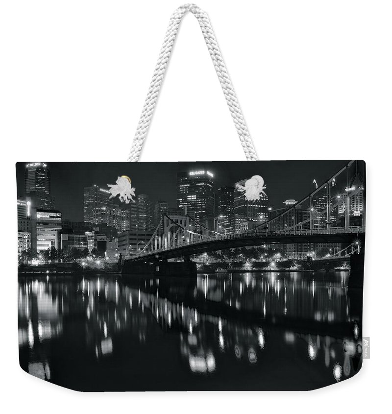 Pittsburgh Weekender Tote Bag featuring the photograph Black And White Lights by Frozen in Time Fine Art Photography