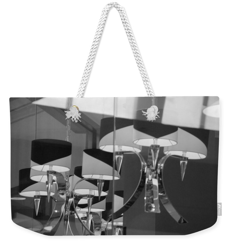 Chandeliers Weekender Tote Bag featuring the photograph Black And White Lights by Rob Hans
