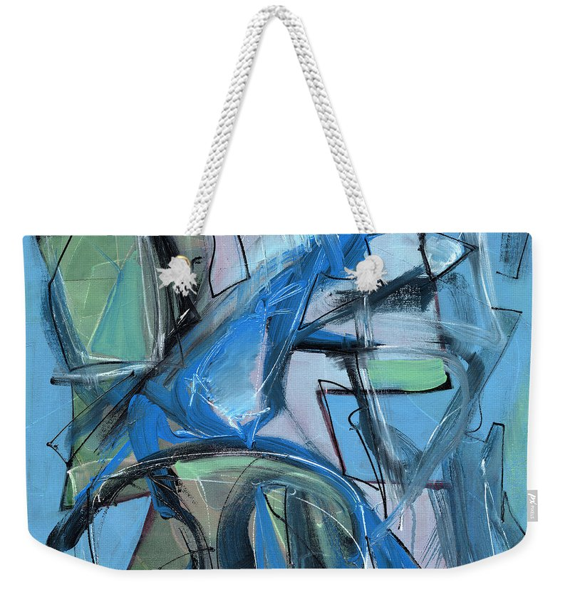 Modern Weekender Tote Bag featuring the painting Black And White by Lynne Taetzsch