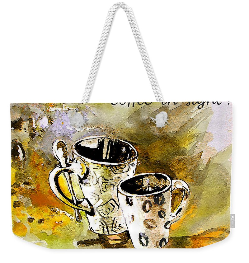 Cafe Crem Weekender Tote Bag featuring the painting Black And White by Miki De Goodaboom