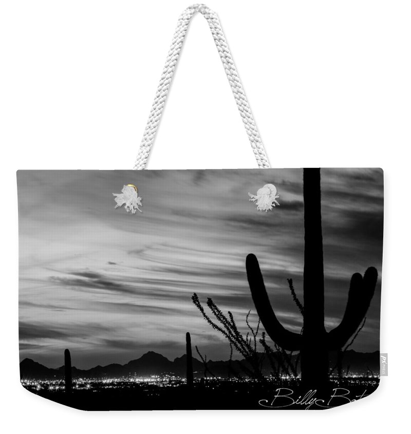 Arizona Weekender Tote Bag featuring the photograph Black And White Night In Arizona by Billy Bateman