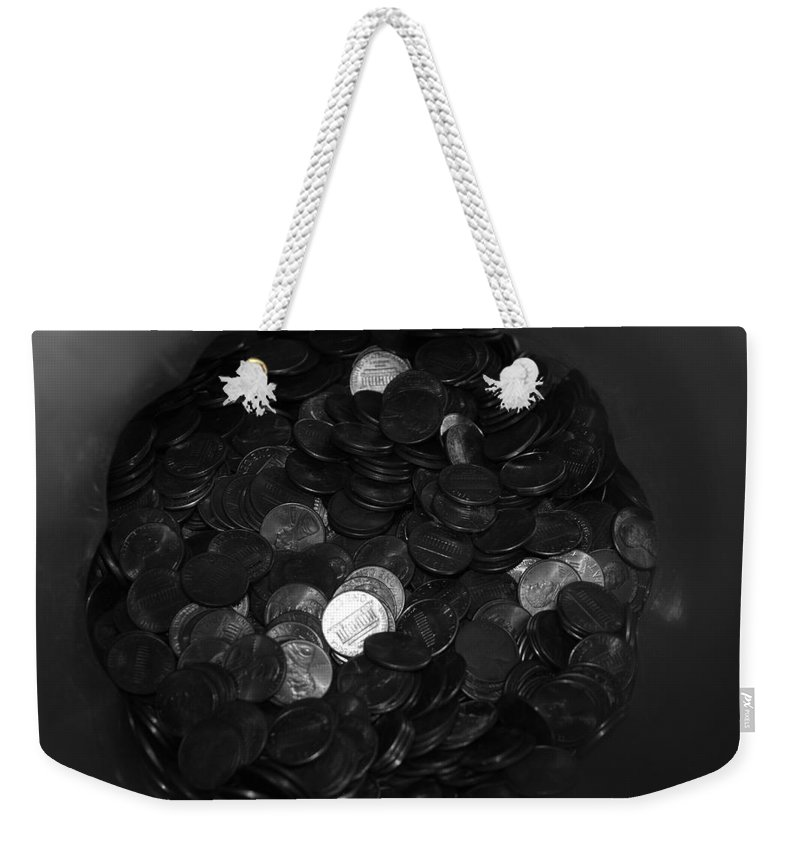 Abstract Weekender Tote Bag featuring the photograph Black And White Pennies by Rob Hans
