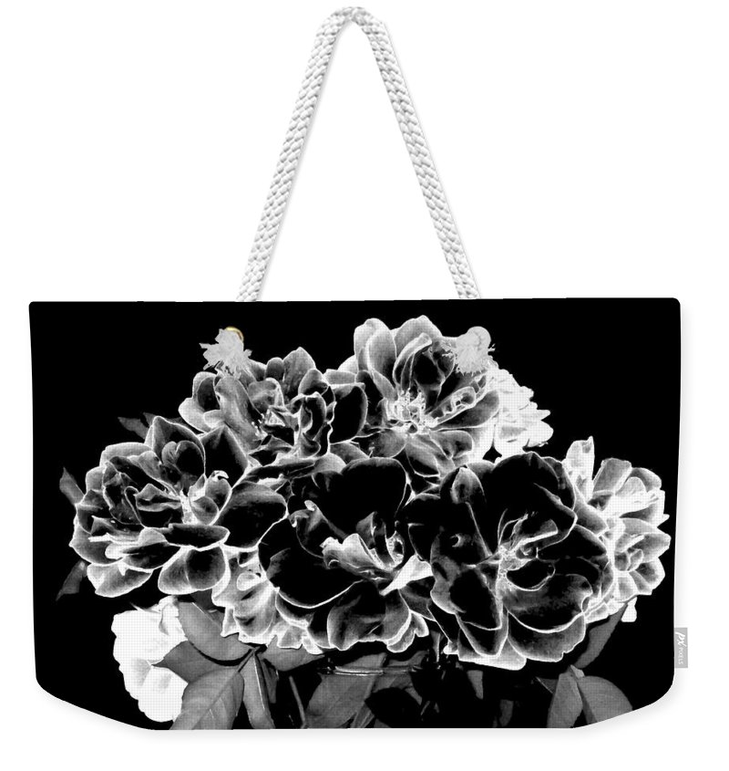 Roses Weekender Tote Bag featuring the digital art Black And White Roses by Will Borden