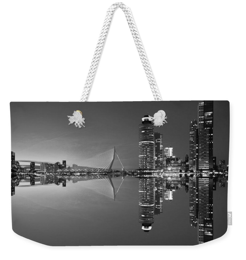 Black Weekender Tote Bag featuring the photograph Black And White Rotterdam - The Netherlands by Artpics