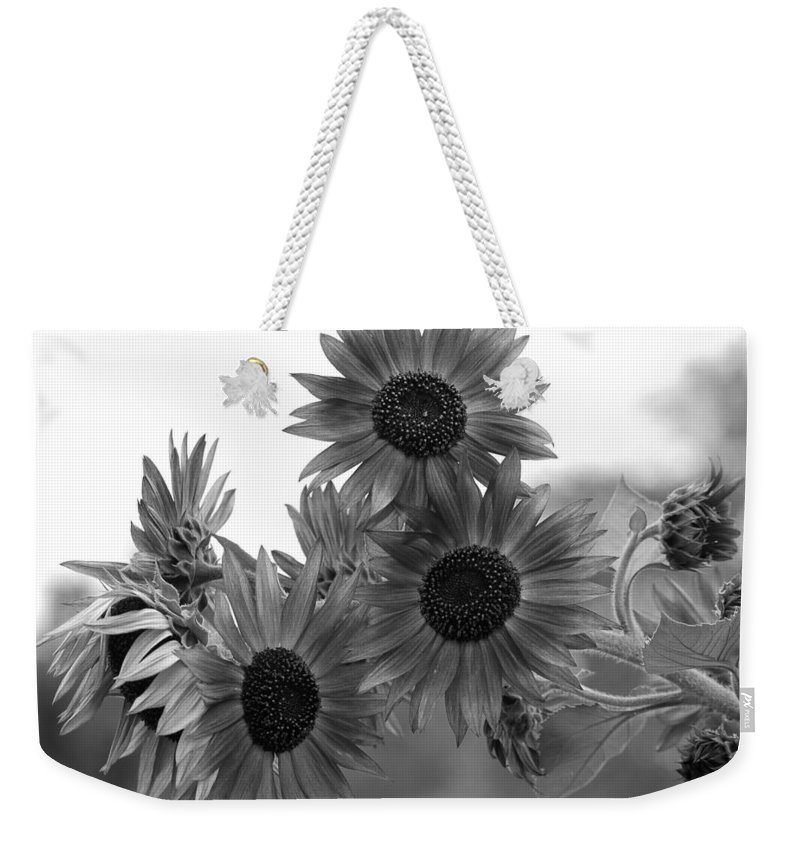 Flower Weekender Tote Bag featuring the photograph Black And White Sunflowers by Amy Fose