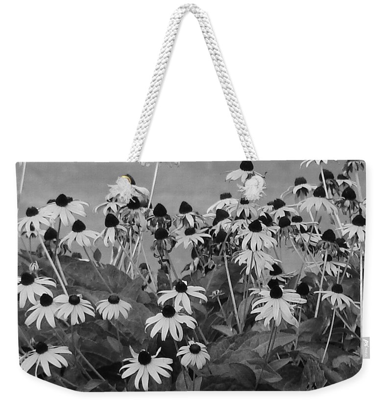 Weekender Tote Bag featuring the photograph Black And White Susans by Luciana Seymour