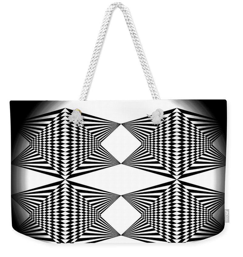 Black T-shirt Weekender Tote Bag featuring the digital art Black And White T-shirt by Isam Awad