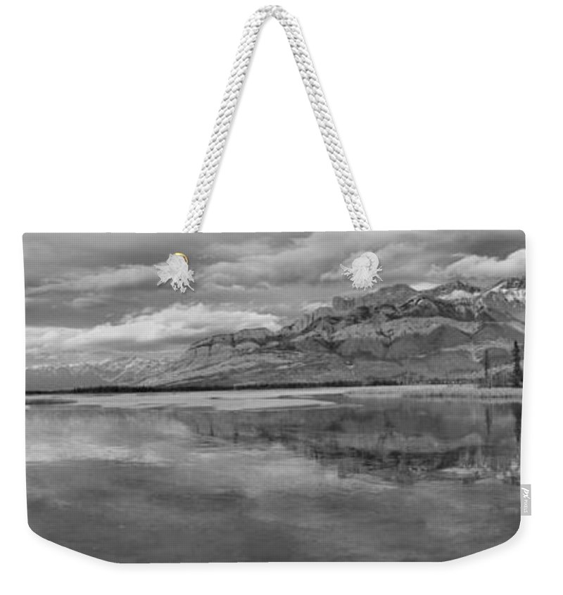 Black And White Weekender Tote Bag featuring the photograph Black And White Talbot Lake Sunset by Adam Jewell