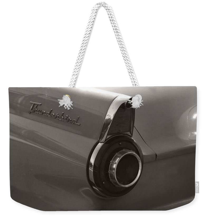 Black And White Photography Weekender Tote Bag featuring the photograph Black And White Thunderbird Tail Fin by Heather Kirk