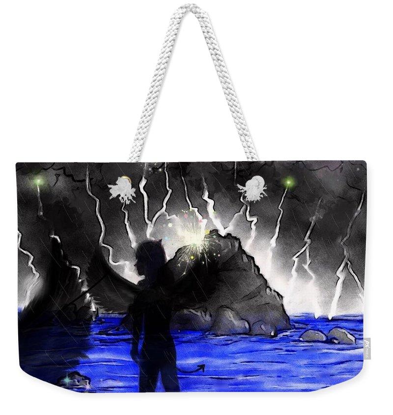 Angel Weekender Tote Bag featuring the digital art Black Angel by SomeDay Pii