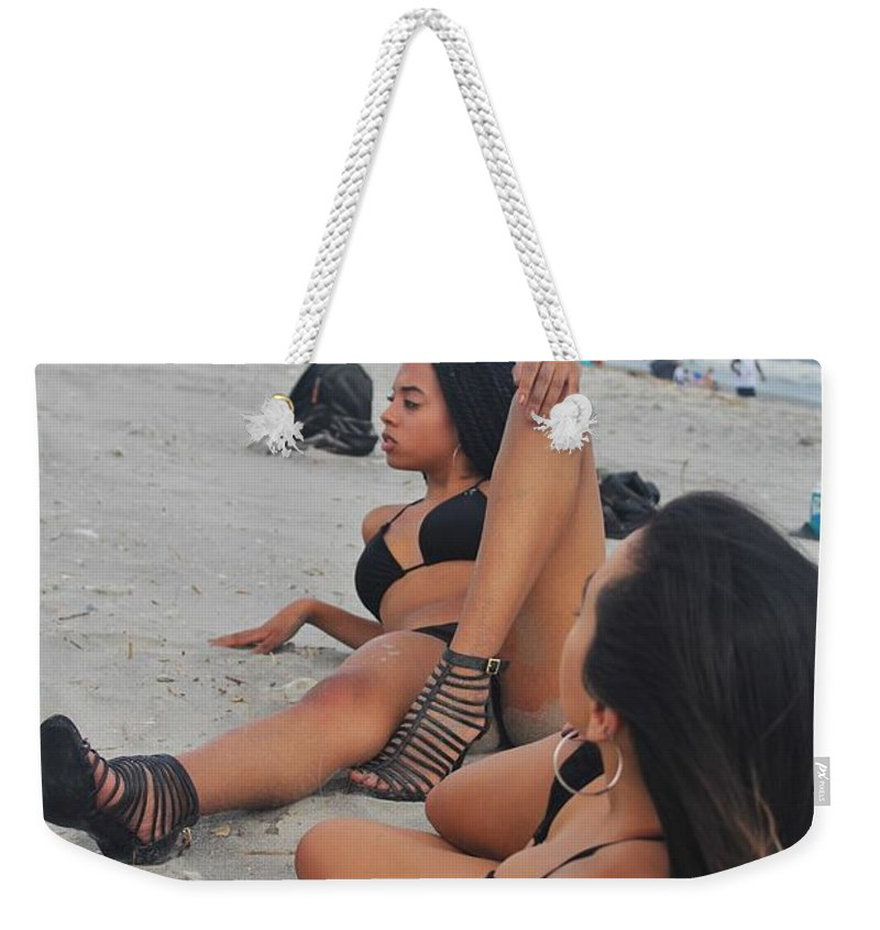 Ebony Weekender Tote Bag featuring the photograph Black Bikinis 10 by Christopher White