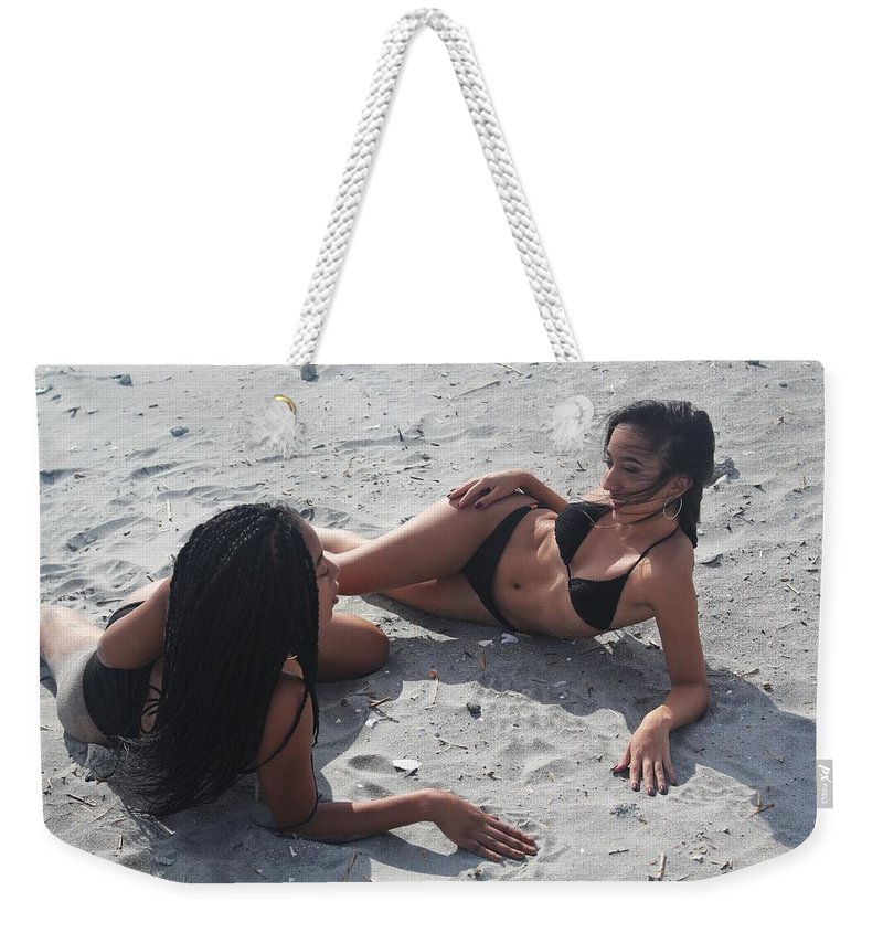 Ebony Weekender Tote Bag featuring the photograph Black Bikinis 12 by Christopher White
