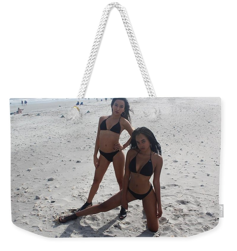 Ebony Weekender Tote Bag featuring the photograph Black Bikinis 13 by Christopher White