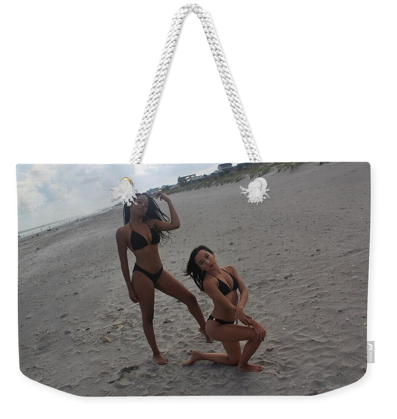 Ebony Weekender Tote Bag featuring the photograph Black Bikinis 14 by Christopher White
