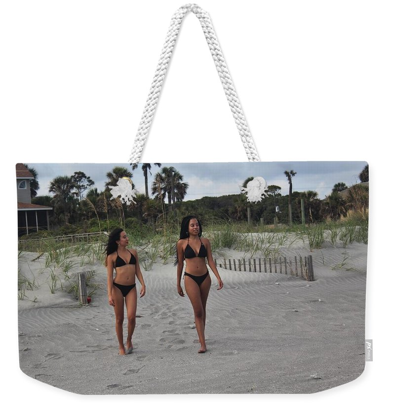 Ebony Weekender Tote Bag featuring the photograph Black Bikinis 28 by Christopher White