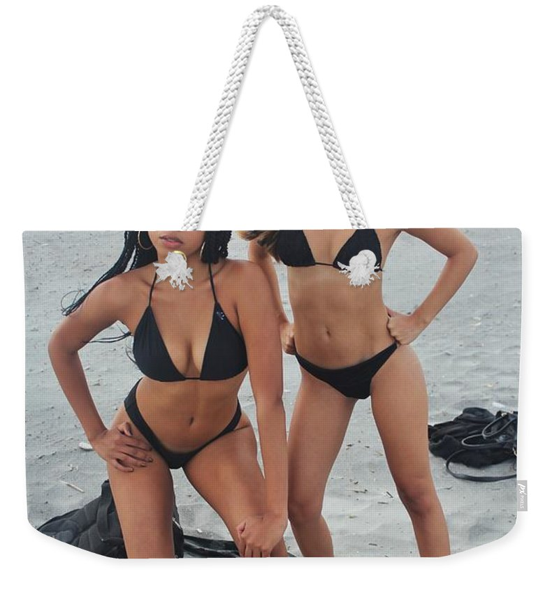 Ebony Weekender Tote Bag featuring the photograph Black Bikinis 4 by Christopher White