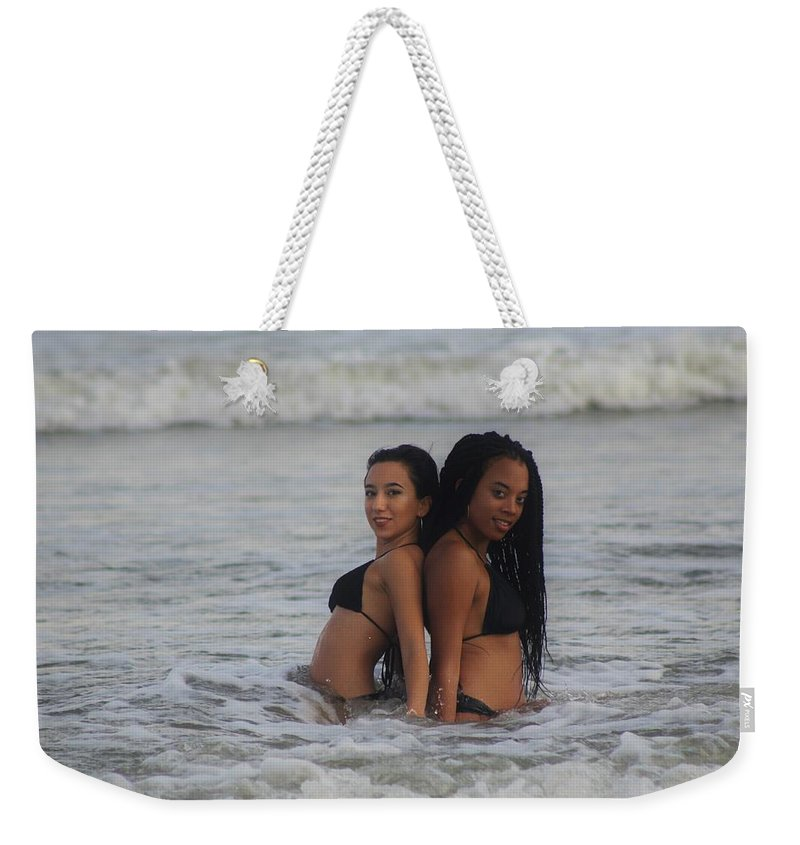 Ebony Weekender Tote Bag featuring the photograph Black Bikinis 40 by Christopher White