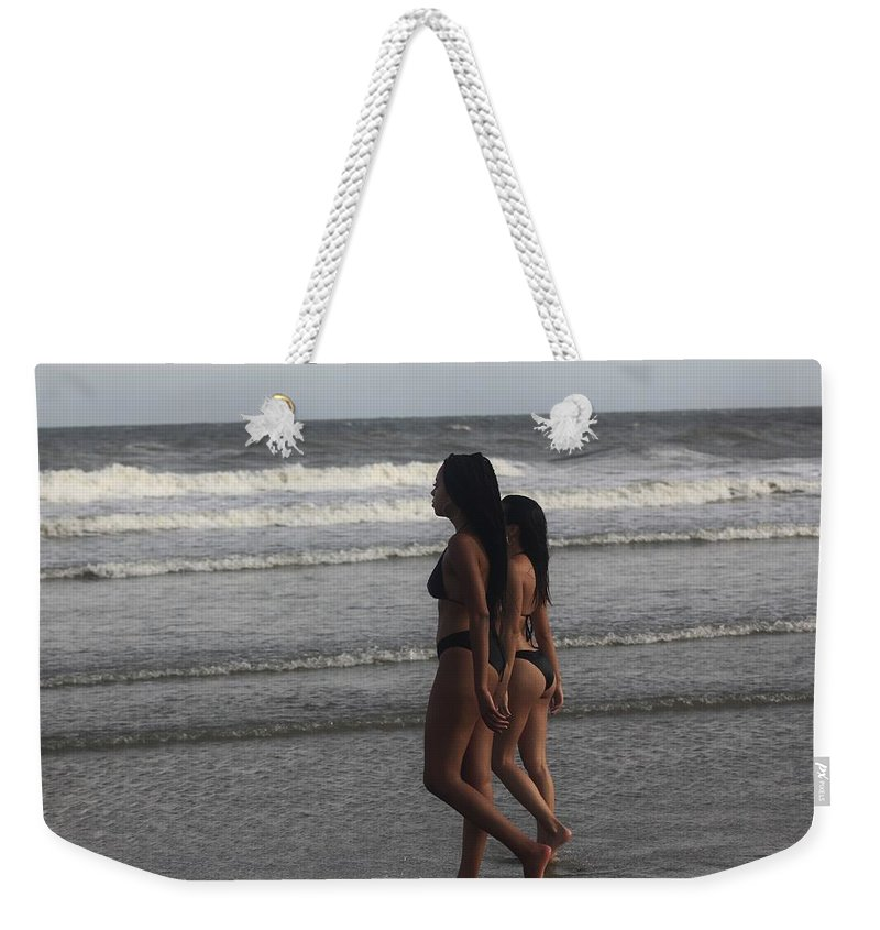 Ebony Weekender Tote Bag featuring the photograph Black Bikinis 43 by Christopher White