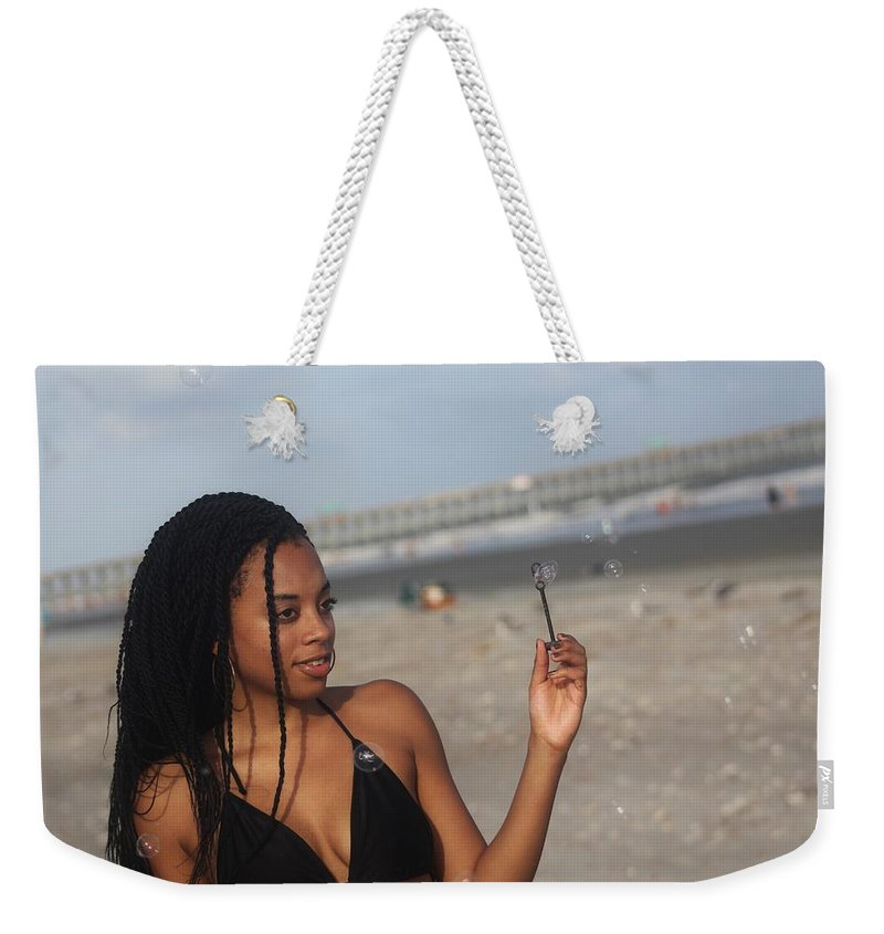 Ebony Weekender Tote Bag featuring the photograph Black Bikinis 56 by Christopher White