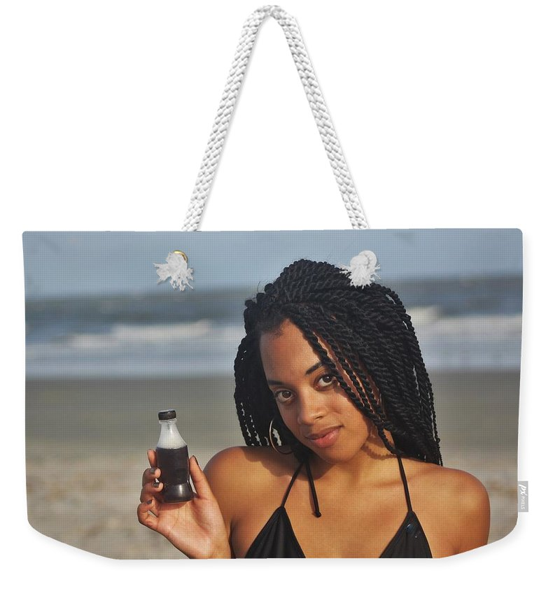 Ebony Weekender Tote Bag featuring the photograph Black Bikinis 59 by Christopher White