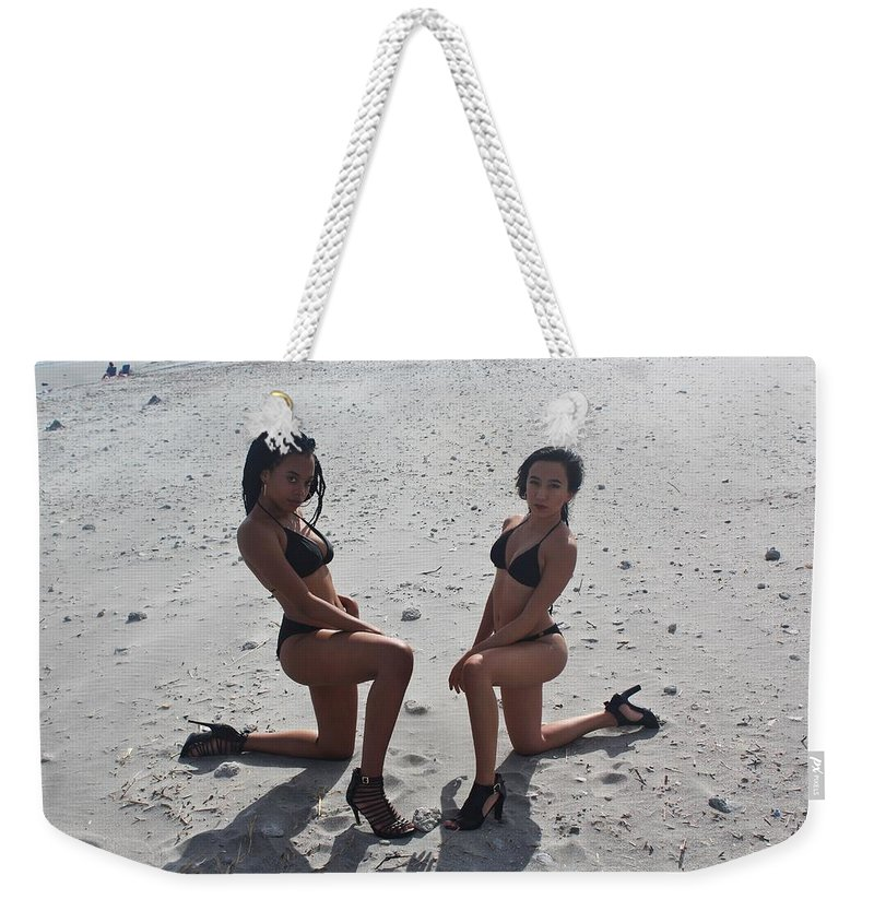 Ebony Weekender Tote Bag featuring the photograph Black Bikinis 8 by Christopher White