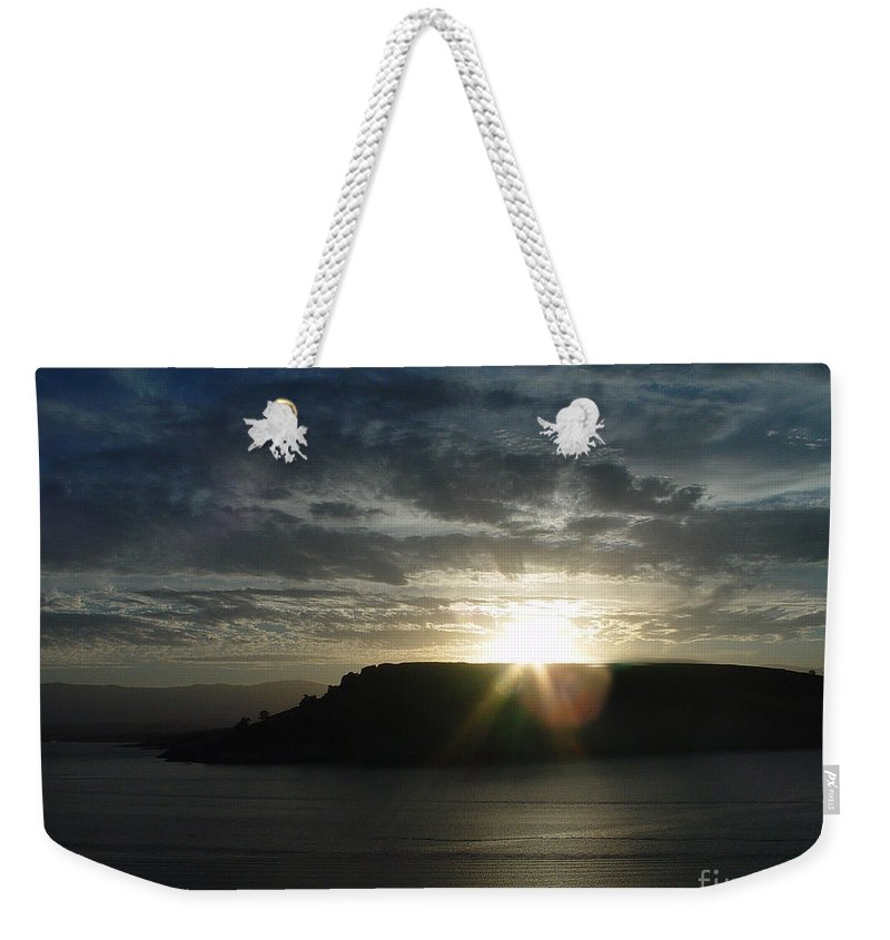 Black Butte Lake Weekender Tote Bag featuring the photograph Black Butte Sunrise by Peter Piatt