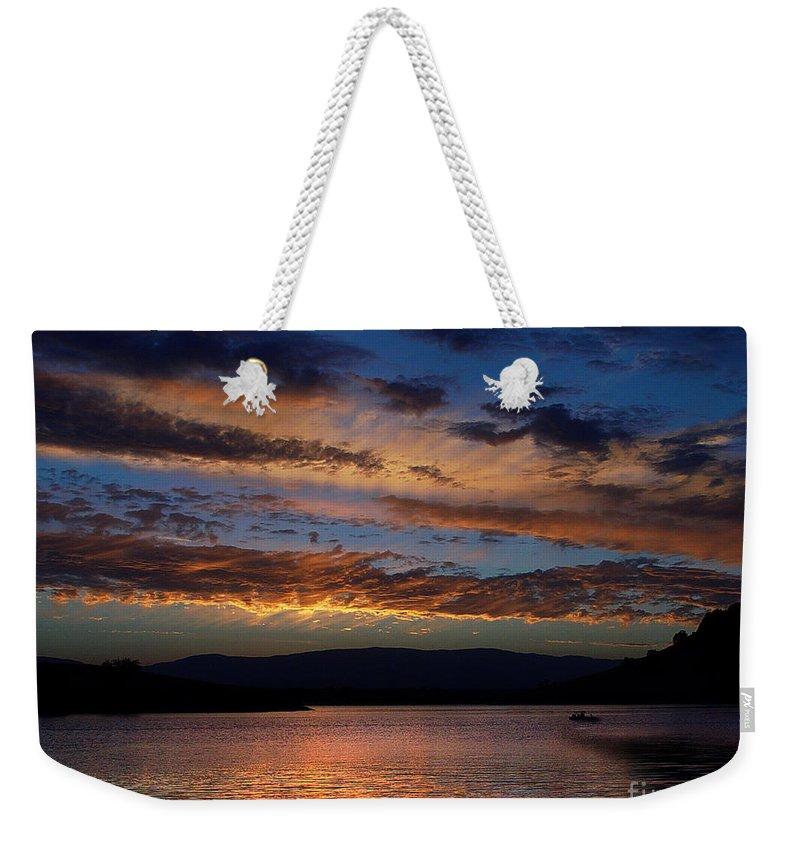 Black Butte Sunset Weekender Tote Bag featuring the photograph Black Butte Sunset by Peter Piatt