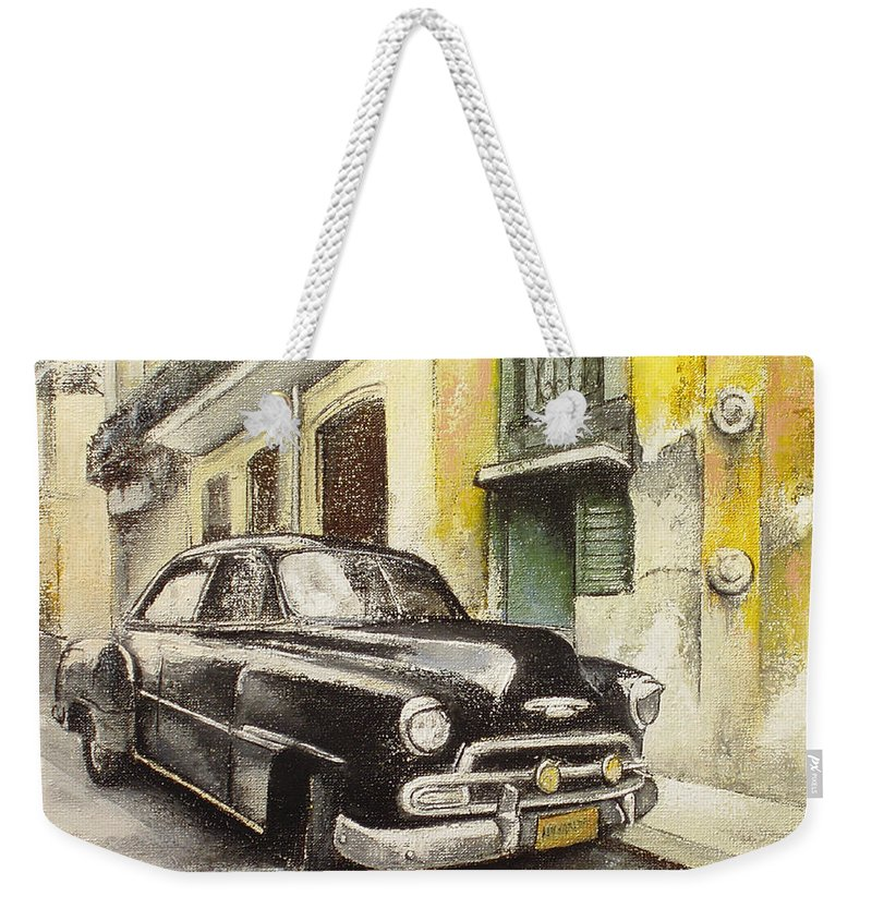 Car Weekender Tote Bag featuring the painting Black cadillac by Tomas Castano