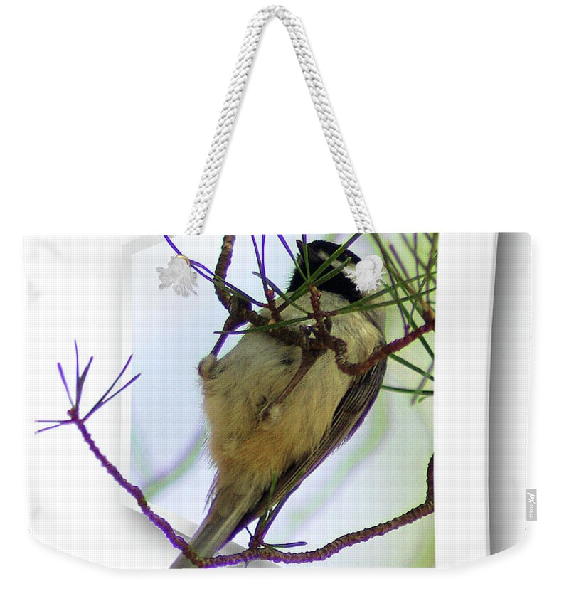 2d Weekender Tote Bag featuring the photograph Black-capped Chick-a-dee by Brian Wallace