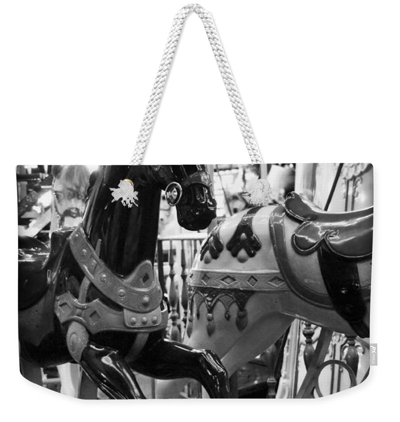 Carousel Weekender Tote Bag featuring the photograph Black Carousel Horse by Tammy Wetzel