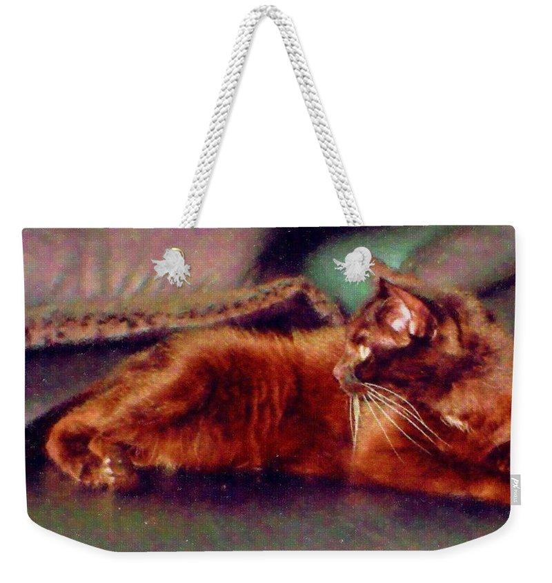 Cat Weekender Tote Bag featuring the digital art Black Cat by Anita Burgermeister