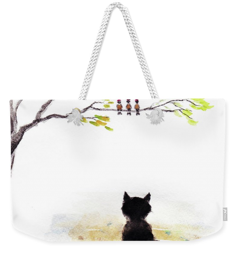 Black Cat Print Weekender Tote Bag featuring the painting Black Cat Painting by Del Art