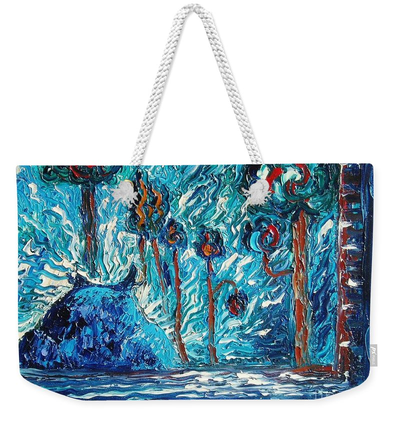 Abstract Cat Paintings Weekender Tote Bag featuring the painting Black Cat by Seon-Jeong Kim