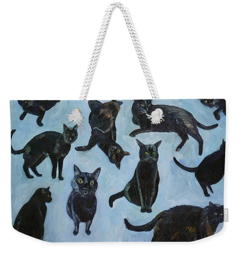 Black Cats Weekender Tote Bag featuring the painting Black Cats by John Kilduff