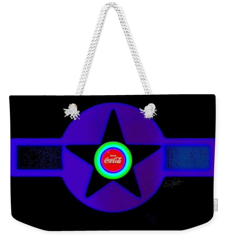 Pop Art Weekender Tote Bag featuring the painting Black by Charles Stuart