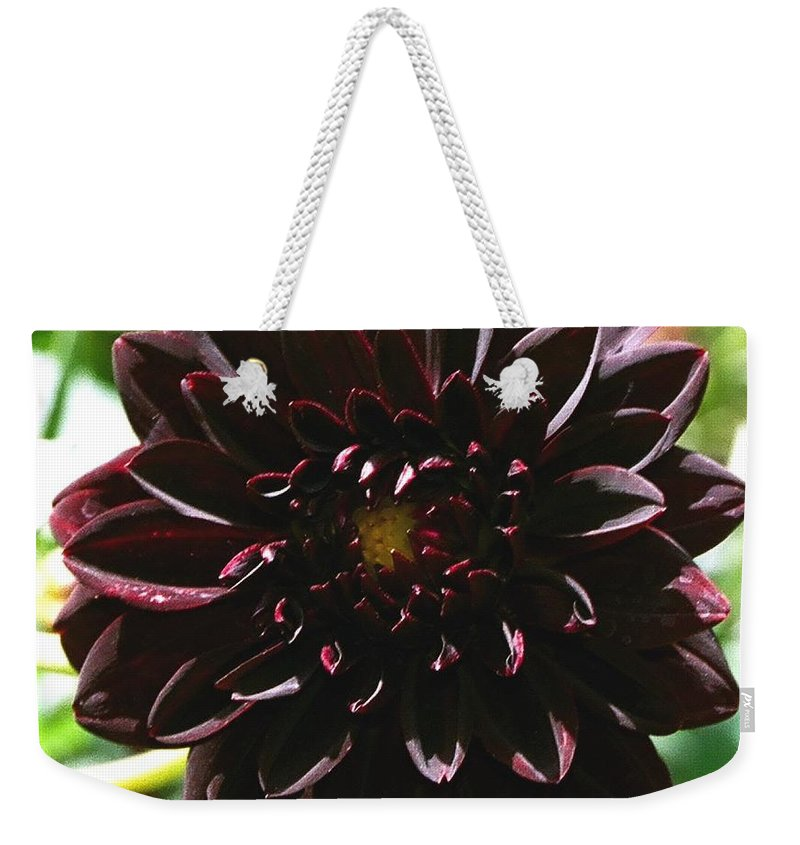 Flower Weekender Tote Bag featuring the photograph Black Dalia by Dean Triolo