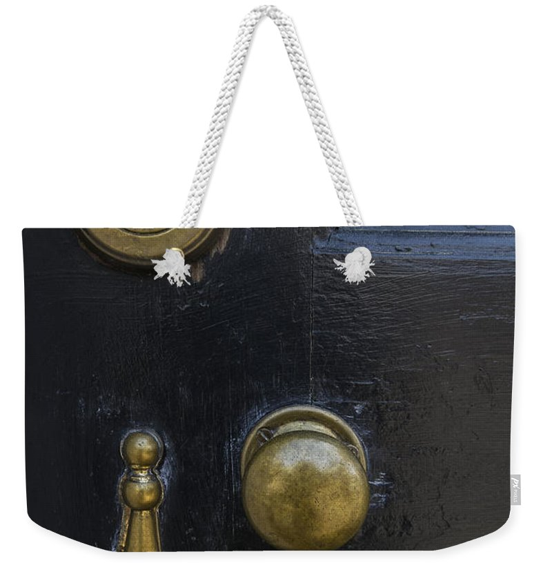 Old Weekender Tote Bag featuring the photograph Black Door by Margie Hurwich