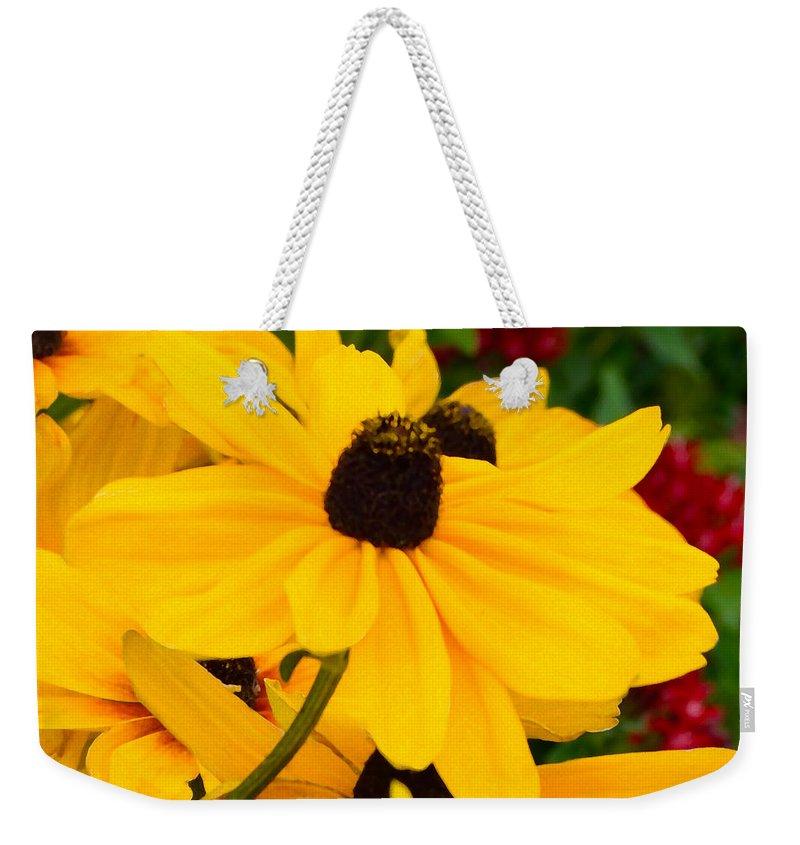 Floral Weekender Tote Bag featuring the digital art Black-eyed Susan Floral by Mas Art Studio