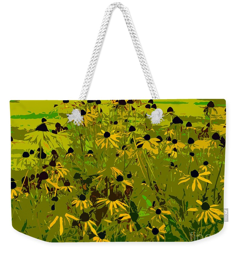 Black Eyed Susan Weekender Tote Bag featuring the photograph Black Eyed Susan Work Number 21 by David Lee Thompson