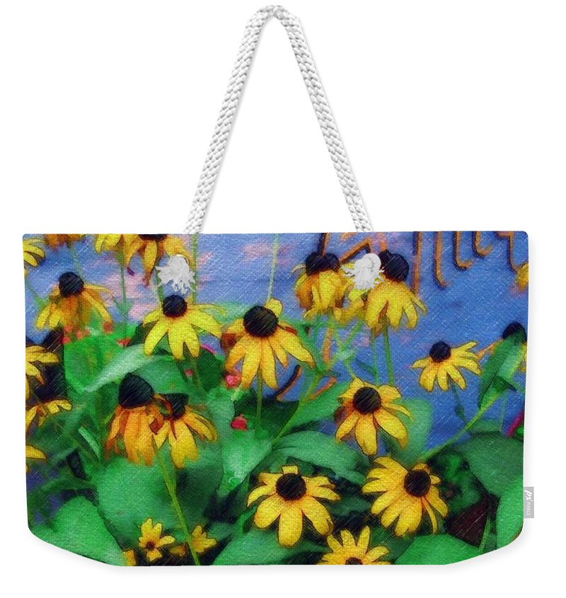 Flowers Weekender Tote Bag featuring the photograph Black-eyed Susans At The Bag Factory by Sandy MacGowan
