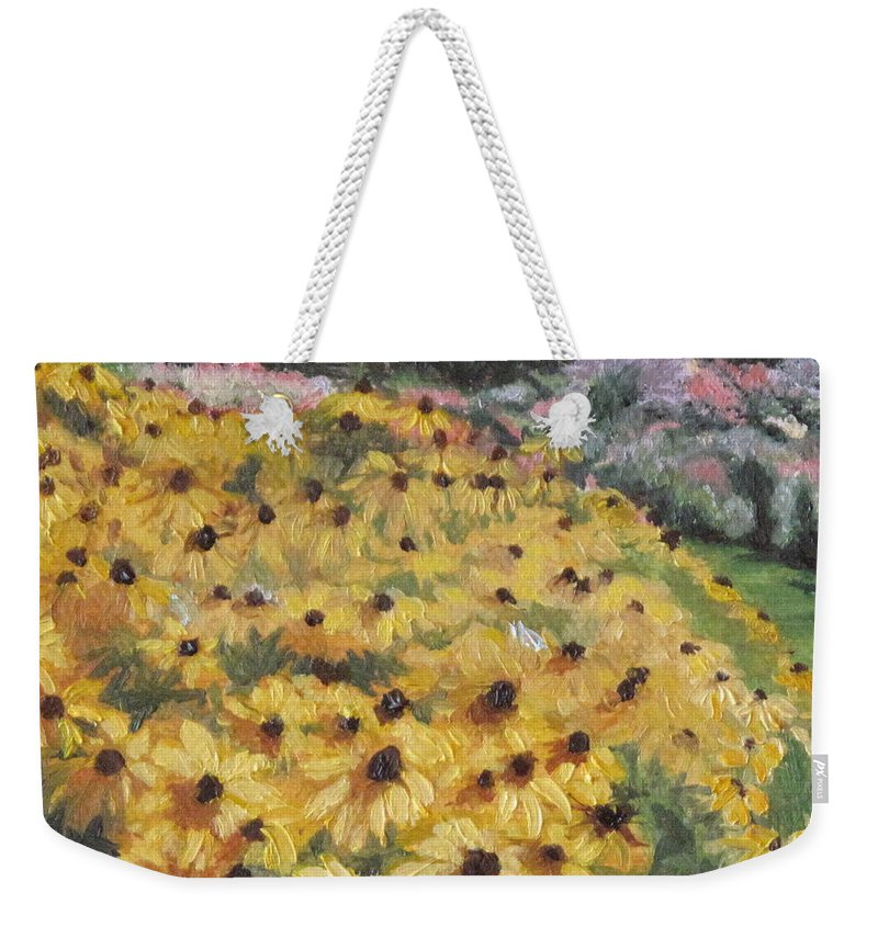 Floral Weekender Tote Bag featuring the painting Black-eyed Susans by Lea Novak