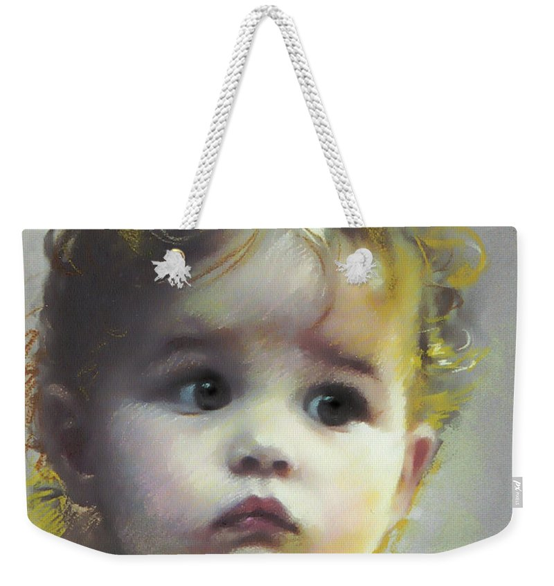 Portrait Weekender Tote Bag featuring the pastel Black Eyes by Ylli Haruni