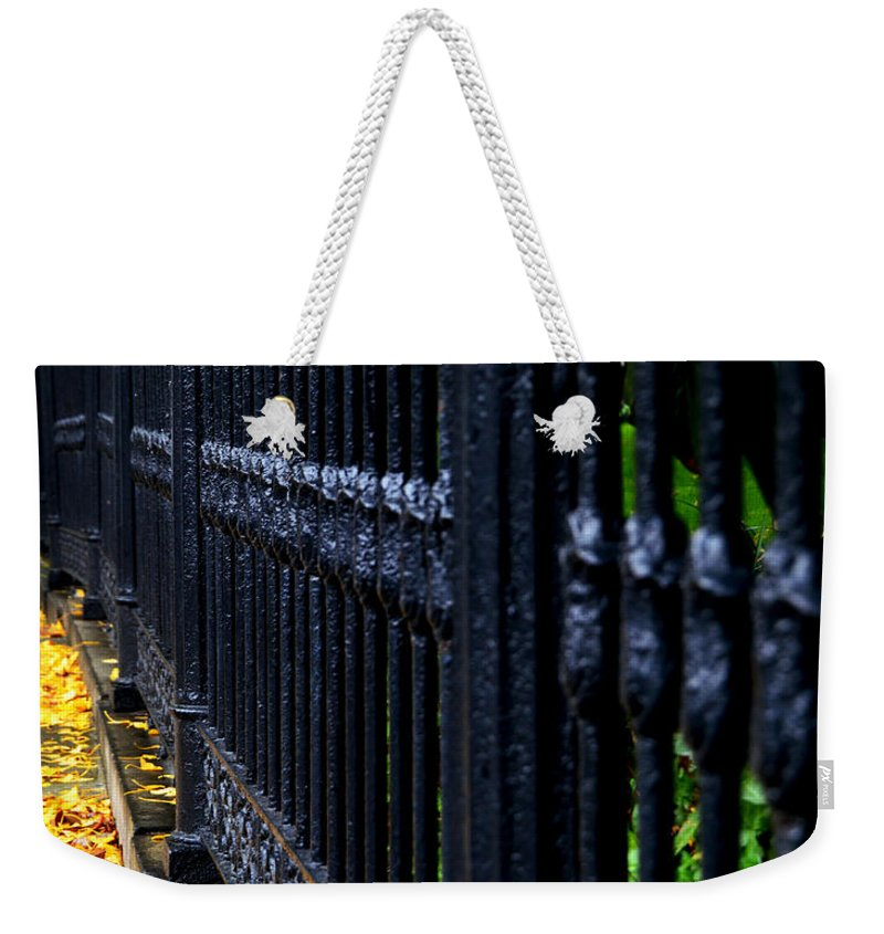 Iron Fence Weekender Tote Bag featuring the photograph Black Fence by Ed Ostrander